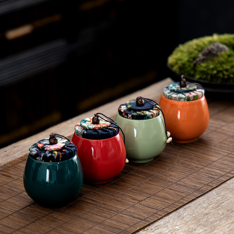 130ML Ceramics Portable Tea Box Holder Sweetmeats Candies Cans Teaware Jar Storage Tin Containers Storage Box Kitchen Accessory