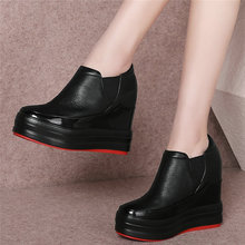 Platform Pumps Shoes Women Genuine Leather Wedges High Heel Ankle Boots Female Med Top Round Toe Fashion Sneakers Casual Shoes winter boots ankle zip women shoes martin boots fashion casual shoes woman square heel med 3cm 5cm round toe platform shoes