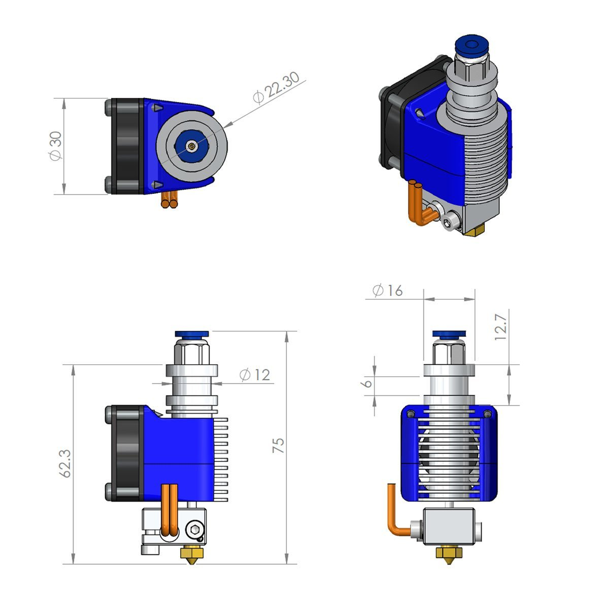 Image 5 - All Metal V6 Bowden Extruder Hotend For 3D Printer   24V /1.75mm Filament / 0.4mm Nozzle-in 3D Printer Parts & Accessories from Computer & Office