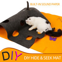Pet Toys For Kittens Cat Playing Felt Cat Mat Diy Hide And Seek Carpet With Holes Multi Function Activity Mat For Cats