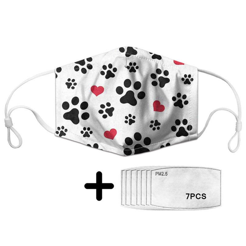 Kawaii Dog Footprint Print And Love Pattern Mask Girls Cold Weather Face Protection With PM2.5 Filter Whtie Reusable Mouth Masks