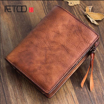AETOO Handmade wallet men short vertical section soft leather young women vegetable tanned Vintage