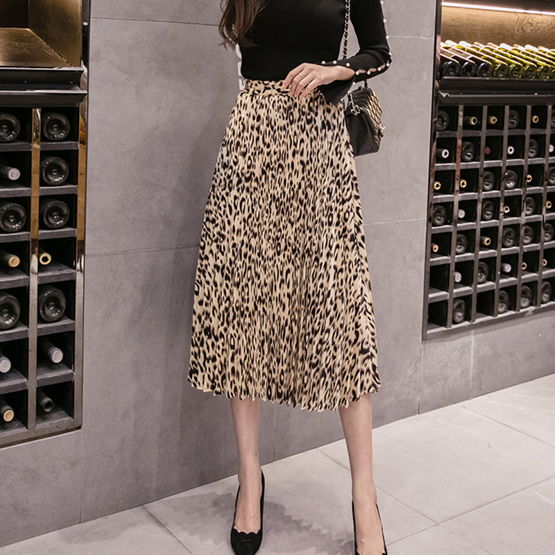 2020 New Arrival Women Vintage Skirt Leopard Print Pleated Midi Skirts For Ladies Elastic High Waist Mid-calf Female Skirts