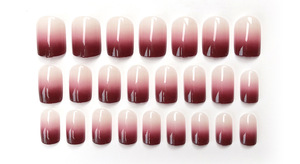 Image 5 - 24 Pcs New Red Wine Gradient Color Long False Nails Fashion Popular Fake Nails For Ladies And Girls With Glue Stickers