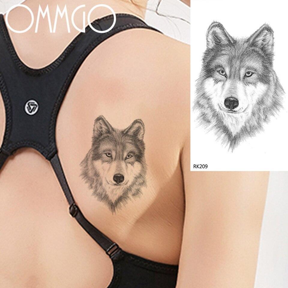 Black Wild Gray Wolf Temporary Tattoos For Men Women Boy Body Art Arm Tattoo Paper Paster Idy Waterproof Fake Tattoo Sticker Temporary Tattoos Aliexpress