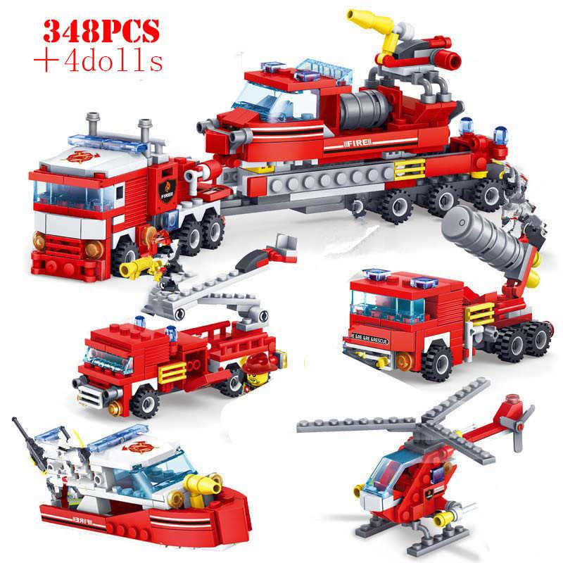 עיר אש תחנת אבני בניין אש מנוע לוחם משאית דמויות לבנים חינוכיים צעצועים לילדים בני חג המולד מתנות