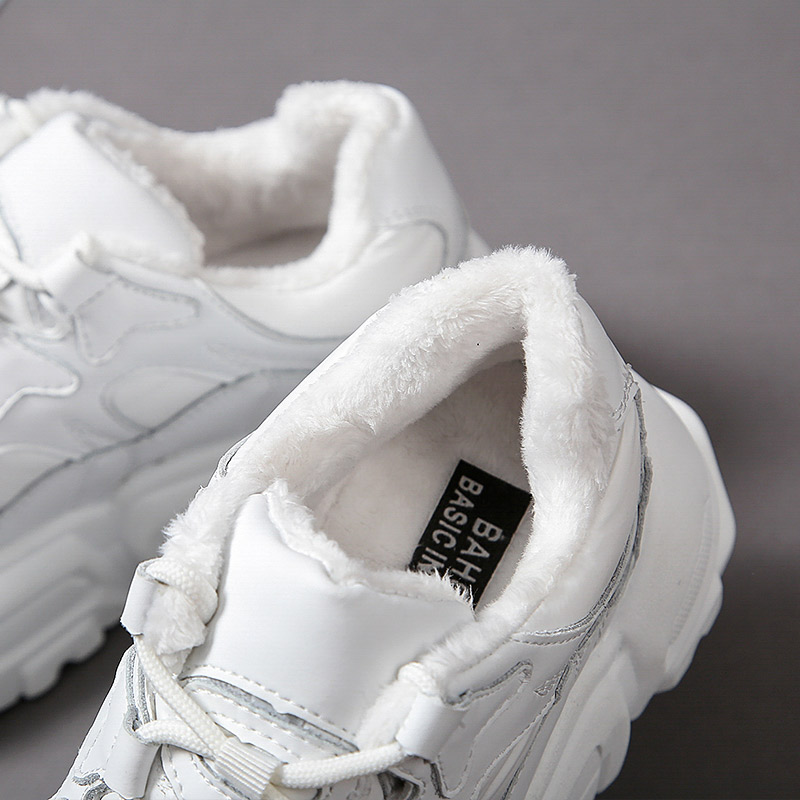 Women Casual Sneakers Winter Plush Fur Warm Shoes Height increasing thick-soled sports shoes Platform Heel 6cm Zapatillas Mujer