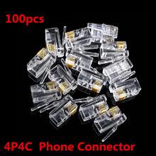 Connecteurs de réseau plaqués or, 100 pièces, tête en cristal, prise modulaire RJ11 4P4C