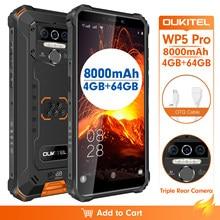Ip68 impermeável 4gb 64gb telefone móvel oukitel wp5 pro smartphone 8000mah triplo câmera rosto/impressão digital id 5.5 polegadas android 10