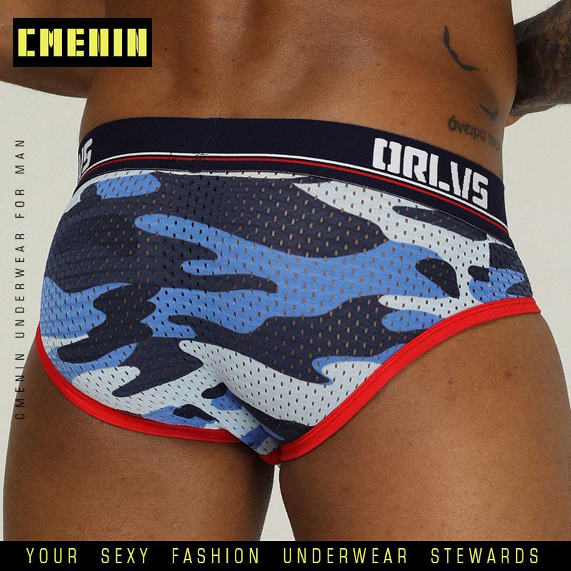 CMENIN Men Sexy Briefs Underwear Mesh Qucik-Dry Man Brief Breathable Mens Underpants Male Panties Cuecas Bikini Under Wear OR187