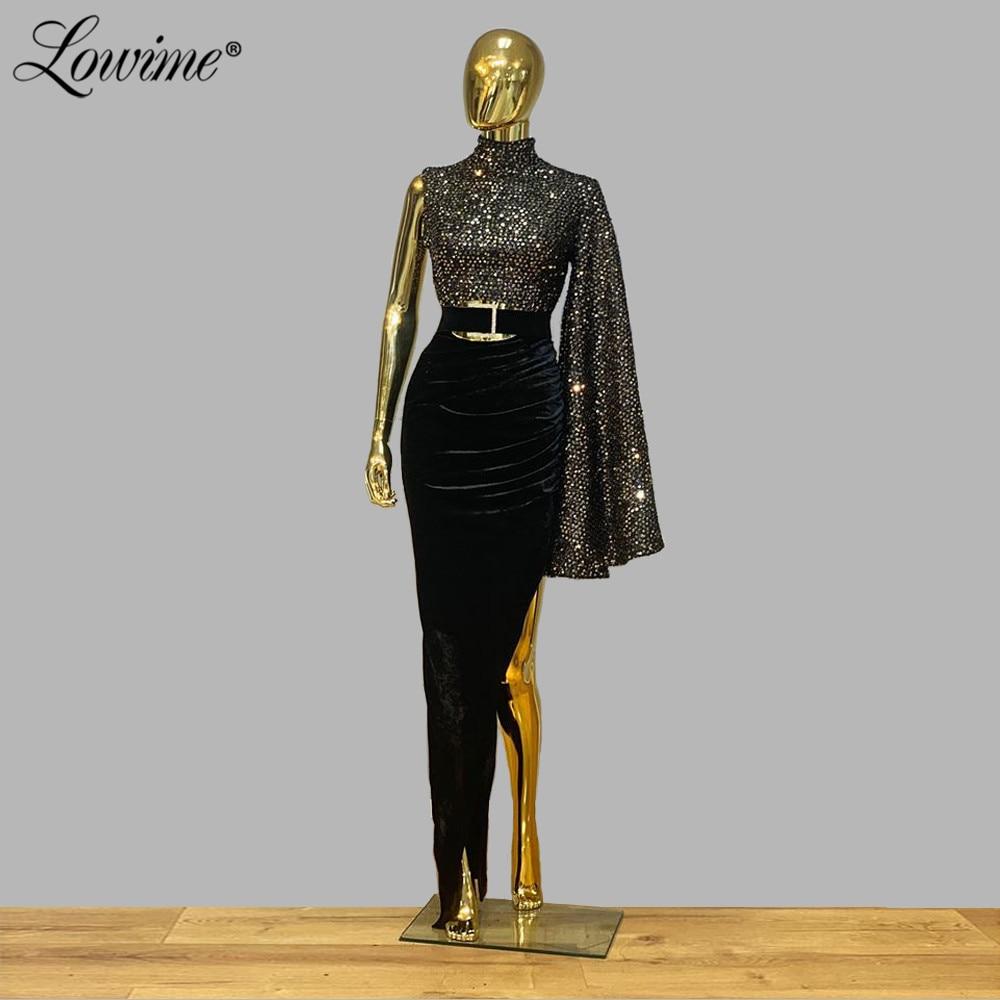 Black Velvet Sexy Split Side Slit Party Dress One Shoulder African Prom Dresses 2020 Saudi Arabia Middle East Women Evening Gown