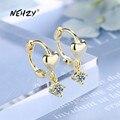 NEHZY 925 Sterling Silber Neue Frau Mode Schmuck Hohe Qualität Einfache Kristall Zirkon Gold Silber Herz-förmigen Ohrringe