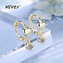 NEHZY 925 en argent Sterling nouvelle femme bijoux de mode de haute qualité Simple cristal Zircon or argent boucles d'oreilles en forme de coeur