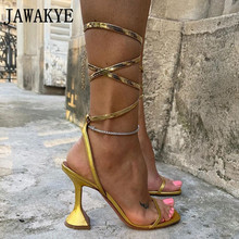 Strappy Sandals Crystal-Shoes Goblet-Heels Lace-Up Gold Blue Sexy Women Club Party New