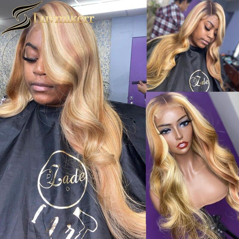 Perruque Lace Front Wig 613 Deep Part blond, balayage brun ombré, 13x6, perruque Lace Front Wig transparente Hd, pre-plucked, pour afro-américains