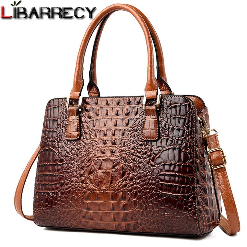 Retro Fashion Female Big Tote Bags  Luxury Handbags Women Bags Designer Alligator Handbag Leather Shoulder Messenger Bags Sac