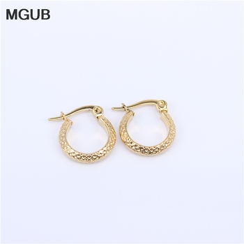 MGUB Six Sizes Women Circle Earrings Jewelry Gift Classic Hoop Earrings Gold Color Stainless Steel Earrings Women 2018 New HX34