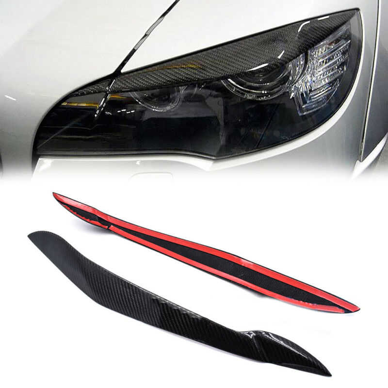 1 Pair Carbon Fiber Eyelids Cover Trim Eyebrow For BMW X5 E70 Headlight