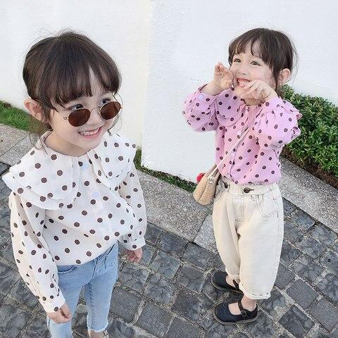 meninas polka dot camisa 2020 primavera novas criancas manga longa rendas chiffon onda manga longa
