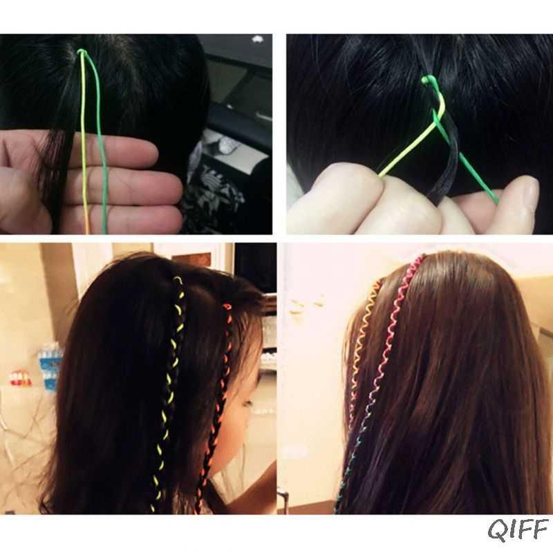 10 шт. 1 м яркая красочная плетеная веревка для волос DIY, бигуди в стиле хип-хоп для женщин, девочек, праздничные вечерние аксессуары для укладки волос