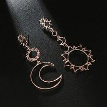 Boucles d'oreilles Boho asymétriques pour femmes, 1 paire, pendants, étoile, soleil, lune, goutte, mode, Punk