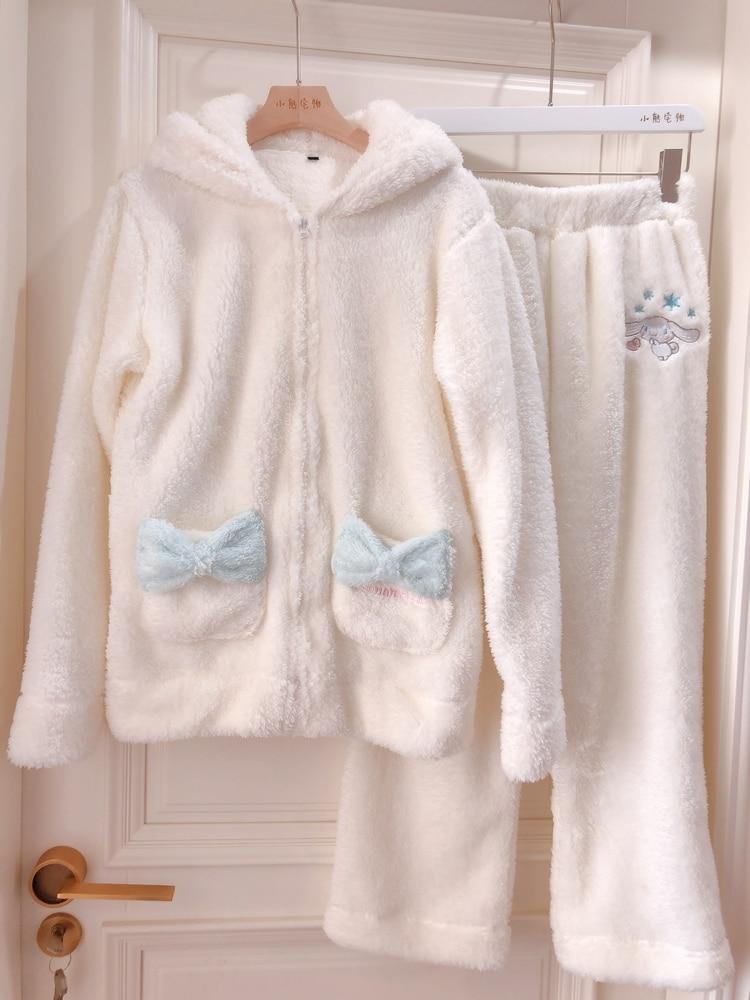 1set Cosplay Cinnamoroll Sweatshirt Two Piece Pajama Coral Fleece Thick Warm Winter Women Cartoon Kawaii White Hoodies Trousers 2