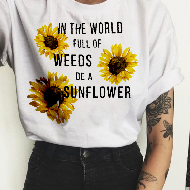 Women 2019 Floral Fashion Wildflower Graphic Tees Print T Shirt Women Sunflower Plant Tee Graphic T-shirt  Fashion Travel Tops