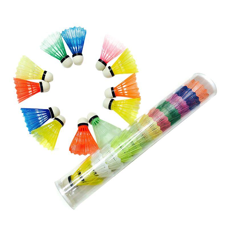 12pcs/set Colorful Shuttlecock Portable Plastic Training Badminton Ball Outdoor Sports Activities Supplies LQ4857