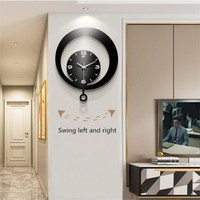 Nordic swinging moon shape wooden wall clock living room TV background wall decoration round retro home clock