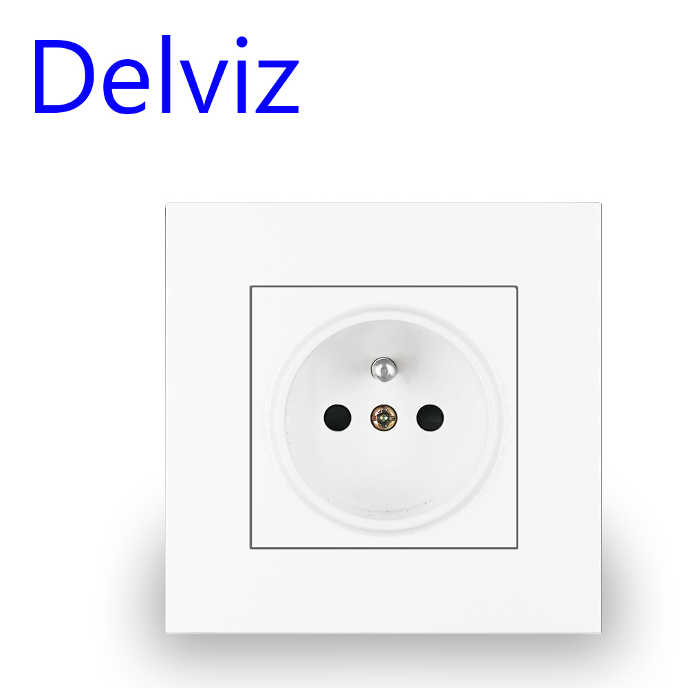 Delviz Wall White Panel Socket Power Plug Grounded 16A European EU AC110V~250V 86mm Round Hole French Standard Electrical Outlet