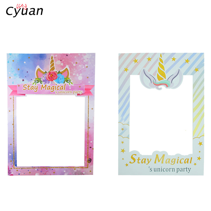 Cyuan Rainbow Unicorn Birthday Photo Booth Props Unicorn Floral Baby Shower Party Photo Frame Props Girl Birthday Decoration