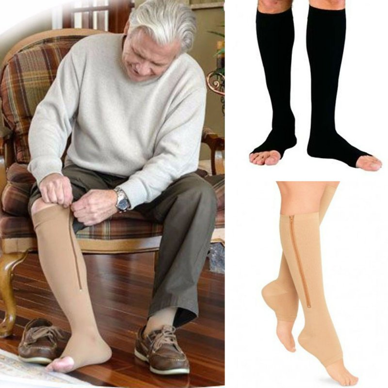 Fitness Zipper Compression Socks Zip Circulation Pressure Leg Support Knee Sox Open Toe Sports Sock Reduce Pain Compression Sock