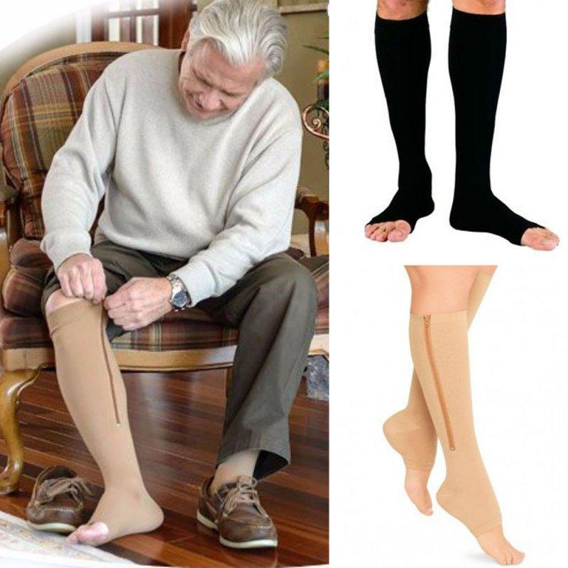 Fitness Zipper Compression Socks Zip Circulation Pressure Leg Support Knee Sox Open Toe Sports Sock Reduce Pain Compression Sock