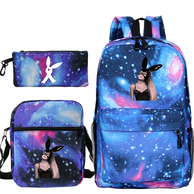 Mochila Ariana Grande 3pcs/set Backpack School Bags For Girls Boy Laptop Travel Backpack Women Backpacks+shoulder Bags+pen Bag