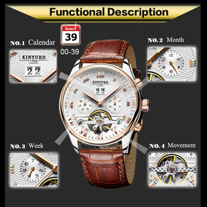 Image 4 - KINYUED Skeleton Tourbillon Mechanical Watch Men Automatic Classic Rose Gold Leather Mechanical Wrist Watches Reloj Hombre 2019