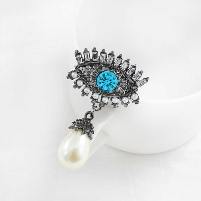 Blue eyeball Long eyelash Pin Angel's tears Enamel Brooch Inlay zircon Rhine stone Imitation Pearl Broochs Jewellery Ornaments