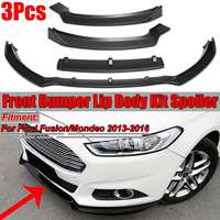 3Pieces Matte Black Car Front Bumper Splitter Lip Spoiler Diffuser Protector Body Kit For Ford For Fusion For Mondeo 2013 2018