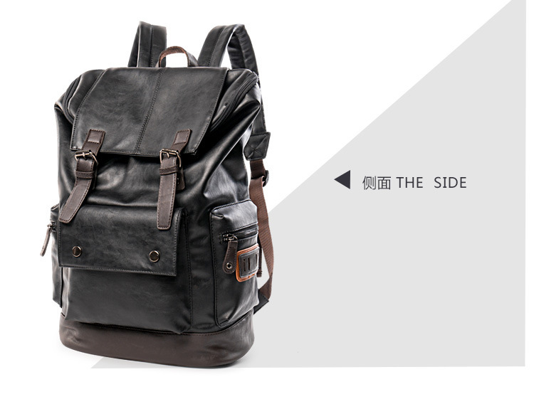 Men's Leather Backpack Youth Travel Rucksack School Laptop Bags Male Business Shoulder Bag High Quality Free Shipping