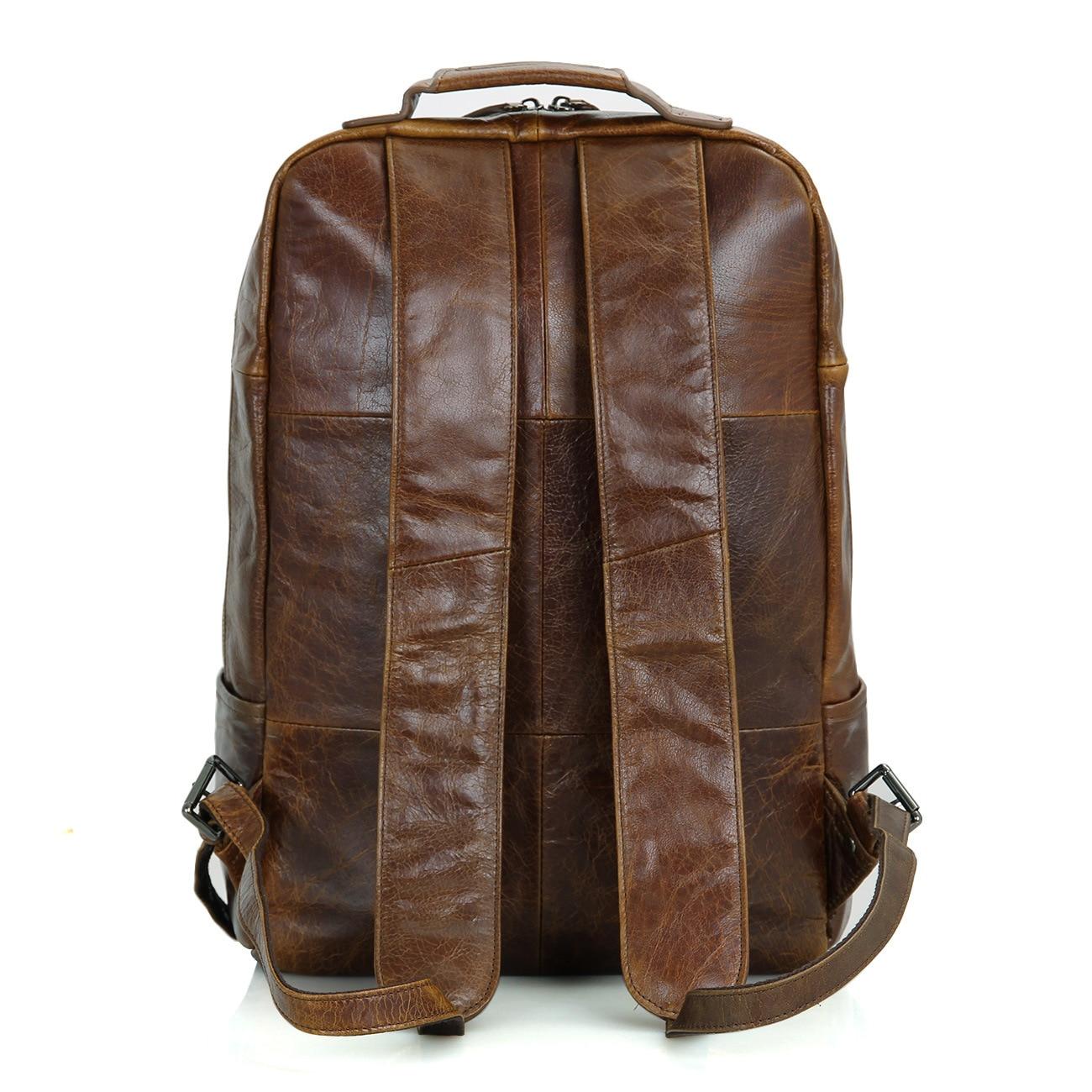 Head Layer Genuine Leather Both Shoulders Backpack Men Women Apply Concise Both Shoulders Package