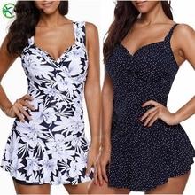 MUOLUX 2019 Sexy Dots Plus Size Swimwear Women Tankini Swimsuit Ruched Push up Two piece Swimsuit Female Swimming skirt XXXXXL