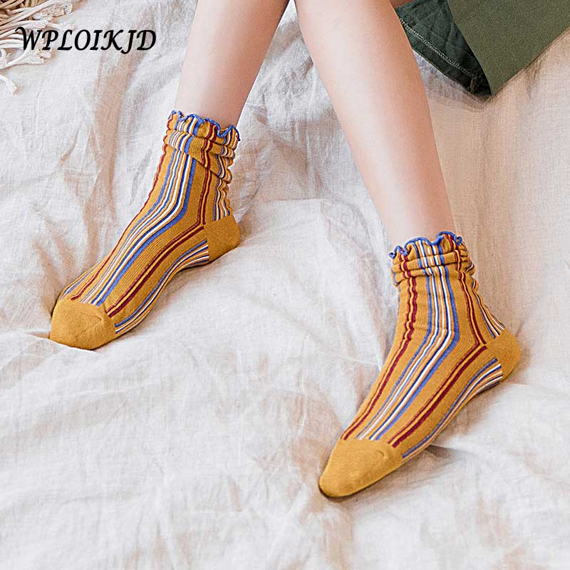 [WPLOIKJD]Han Edition Art Style Fashion Stripe Wood Ear Edge Cute Sweet Heap Heap Socks Women Sokken Skarpetki For Girl Gifts