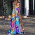 Женское пляжное платье с принтом, облегающее платье-макси на бретелях-спагетти с V-образным вырезом, лето 2021