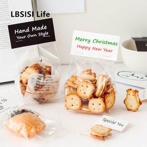 Lbsisi vida personalizado transparente biscoito embalagem sacos nougat biscoito cupcake decoração saco de presente para o natal evento & festa