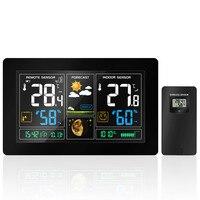 Wireless Wetter Station Temperatur Feuchtigkeit Sensor Bunte LCD Display Wetter Prognose RCC Uhr In/outdoor EU Stecker 3378-in Temperaturinstrumente aus Werkzeug bei