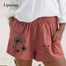 5XL femmes coton lin Shorts décontracté és nouvel été taille haute poche en vrac court Vintage pissenlit papillon imprimé Shorts Streetwea