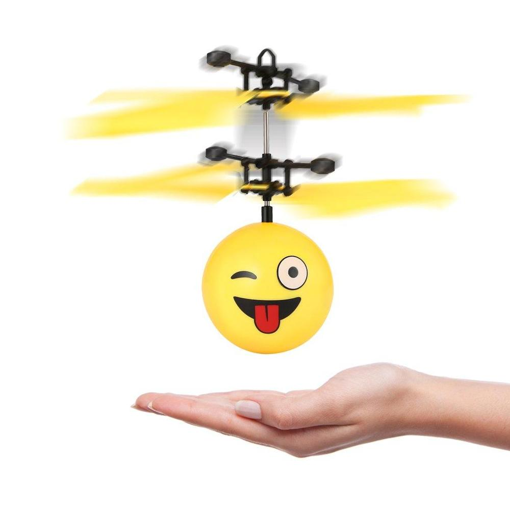 Magic Electric Flying Ball Helicopter Built-in LED Lighting Kids Toy Gift Funny Expression Flying Ball Toy