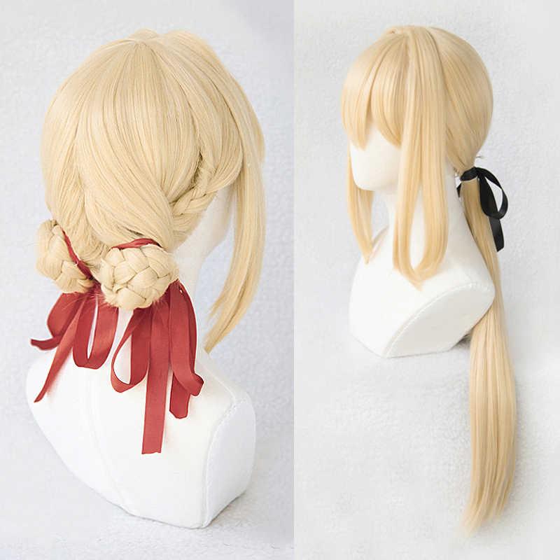 Anogol Brand New fioletowy Evergarden peruki długa fala blond włosy syntetyczne Perucas peruka do Cosplay na kostium na Halloween Party + Cap