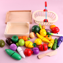 Children's Simulation Fruit and Vegetable Early Education Wooden Boy and Girl Cooking Toys Magnetic Kitchen Combination Set Gift