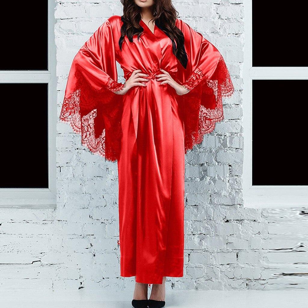 Women Sexy Lace Bathrobe Faux Silk Szlafrok Satin Kimono Long Robe Lounge Lingerie Sleepwear Belt Bride Pajamas Plus Size S-3XL