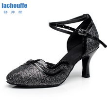 Women Glitter Latin Dance Shoes Black Gold Sliver Woman Colsed Toe Ballroom Tanog Salsa